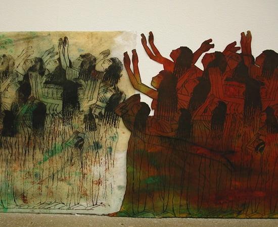 Nancy Spero, Cri du Coeur (detail), 2005, hand-printing on paper mounted on polyester poplin, 25 x 1,925 inches. © Estate of Nancy Spero. Licensed by VAGA, New York. Courtesy Galerie Lelong, New York
