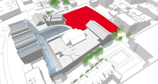 PEM's new construction will proceed in the area (shaded in red) between Essex and Charter streets, following the removal of several structures within the same footprint. Image courtesy RMA.