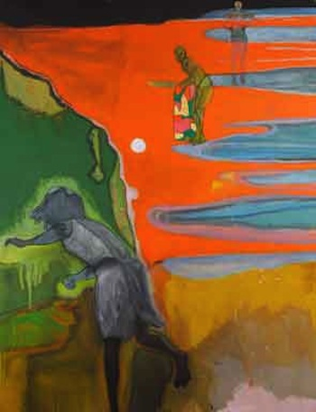 Peter Doig, Cricket Painting (Paragrand), 2006-2012. Oil on canvas, 300 x 200 cm., 118 x 78 3/4 inches. DOI 156/00. Courtesy of a private collection.