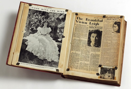 Volume of press cuttings about Vivien Leigh's role in Gone With The Wind, 1940. ©Victoria and Albert Museum, London.