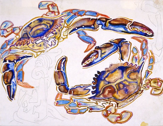 Walter Inglis Anderson (American, 1903-1965), Two Blue Crabs, c. 1960. Watercolor on paper. From the collection of the Walter Anderson Museum of Art in Ocean Springs, Mississippi.