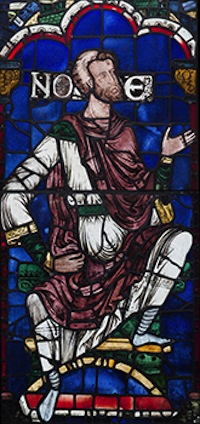 Noah, from the Ancestors of Christ Windows, Canterbury Cathedral, England, 1178-1180; design attributed to the Methuselah Master.  Colored glass and vitreous paint, lead came; 148.8 x 69.5 cm (58 1/2 x 27 3/8 in.). © Robert Greshoff Photography, courtesy Dean and Chapter of Canterbury