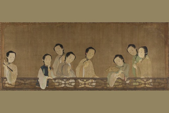 Hua Xuan (active second quarter 18th century) 1736; framed panel painting, ink and colors on silk; 56 x 131 x 2 in.; private collection. Photo: David Stansbury.