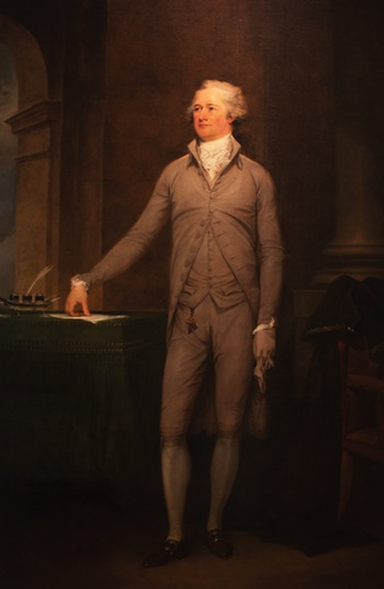 John Trumbull, (1756-1843), Portrait of Alexander Hamilton, 1792. Oil on canvas, 86-1/4 x 57-1/2 in. (219.1 x 146.1 cm). Courtesy of Crystal Bridges Museum of American Art