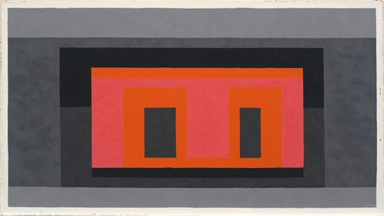 Josef Albers, Variant / Adobe, Pink Orange Surrounded by 4 Grays, 1947–1952. Oil on masonite, 38.1 x 68.6 cm. © The Josef and Anni Albers Foundation/Artists Rights Society New York, 2013.