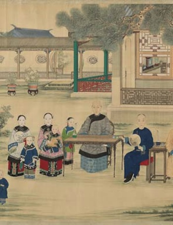Attributed to Shen Zhen Lin, Portrait of a Matriarch and Her Family in a Summer Garden, China, ca. 1850s (detail), Qing Dynasty (1644-1911). Colors, silk, paper, wood. Purchase 1928 28.1873.
