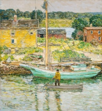 Childe Hassam (American, 1859 – 1935) Oyster Sloop, Cos Cob, 1902 Oil on canvas National Gallery of Art, Washington, Ailsa Mellon Bruce Collection, 1970.17.100