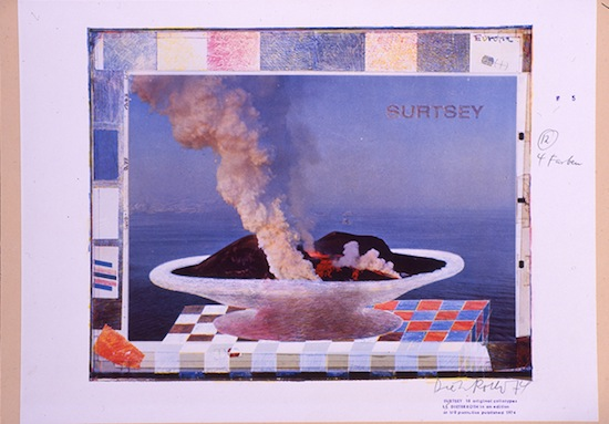 Dieter Roth, SURTSEY, 1973–74. 18 prints in cassette; collotype printing (1–8 colours) on white paper on cardboard, 50 x 65 cm / 19 5/8 x 25 5/8 inches each, edition of 70. Courtesy Dieter Roth Foundation, Hamburg and Hauser & Wirth. © Dieter Roth Estate.