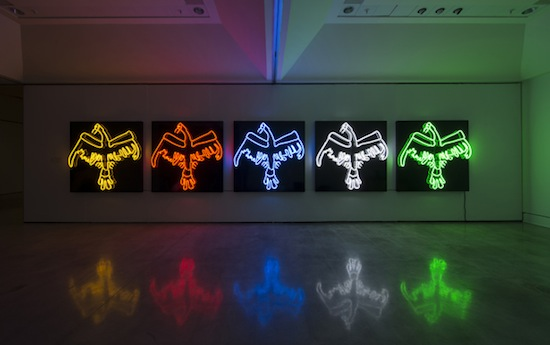 Duane Linklater, Tautology, 2011–2013. Classic gold neon (yellow), clear red neon, horizon blue neon, snow white neon, E-10 neon (green); aluminum, enamel, transformer, 152.4 x 152.4 cm, edition of five. Courtesy of the artist and Susan Hobbs Gallery. Photo: Steve Farmer.