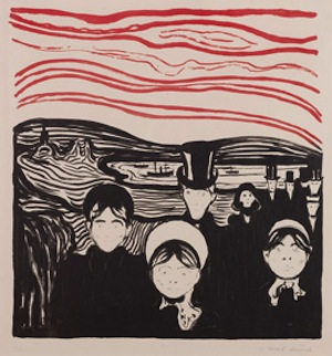 Edvard Munch Angst, 1896 Lithograph on wove paper, 499 x 425 mm Private collection © The Munch Museum/The Munch-Ellingsen Group/2013, ProLitteris, Zurich