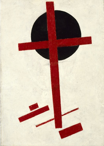 Left: Kazimir Malevich, Mystic Suprematism (red cross on black circle), 1920–1922. Oil on canvas, 72.5 × 51 cm. Stedelijk Museum, Amsterdam, ownership recognized by agreement with the estate of Kazimir Malevich in 2008.