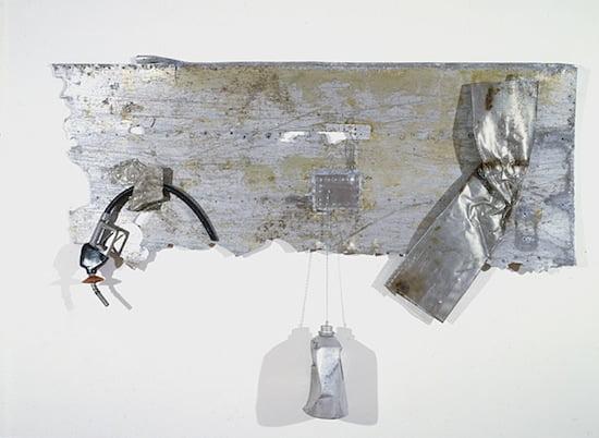 Robert Rauschenberg, Summer Knight Glut, 1987. Assembled metal parts, 67.5 x 96 x 9 inches. Courtesy Robert Rauschenberg Foundation. © Robert Rauschenberg/Licensed by VAGA, New York, NY. Photo: Dorothy Zeidman.