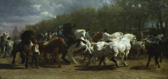 Rosa Bonheur, The Horse Fair, 1853–55. Oil on canvas, 96 1/4 x 199 1/2 inches. Courtesy bpk and The Metropolitan Museum of Art.