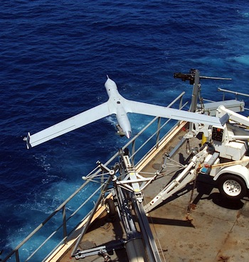 ScanEagle being launched from ship. Photo U.S. Navy.