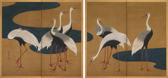 Suzuki Kiitsu, Cranes, Japanese, Edo period, mid-19th century. Pair of two‑panel folding screens; ink and color on gold paper. Harvard Art Museums/Arthur M. Sackler Museum, Promised gift of Robert S. and Betsy G. Feinberg. Photo: John Tsantes and Neil Greentree.