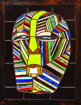 Theodore Feaster, Congolese Mask, 2011. Stained glass, wood. Collection of Donna Feaster.