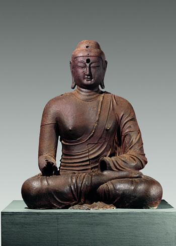 Buddha. Korea, Silla kingdom, late 8th–9th century. Said to be from Bowonsa Temple site, Seosan, South Chungcheong province. Cast iron; H. 59 1/8 in. (150 cm) National Museum of Korea