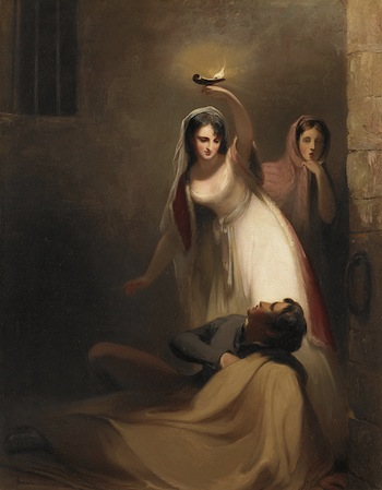 "THOMAS SULLY American, born England, 1783 – 1872 Prison Scene from J. Fenimore Cooper's ""The Pilot"": Cecelia Howard and Katherine Plowden Arousing the Prisoner Edward Griffith from His Slumber, 1841 Oil on canvas, 37 × 28 in. (94 × 71.1 cm) Birmingham Museum of Art, Museum purchase in honor of Richard Murray, former director, with funds provided by Dr. Walter Clark, EBSCO Industries, Mr. John Jemison, Jr., Dr. Cameron McDonald, Dr. John Poyner, Mrs. Alys R. Stephens, Mr. Elton B. Stephens, Jr., Mr. Crawford L. Taylor, Jr., and the 1984 Museum Dinner and Ball, 1984.67"