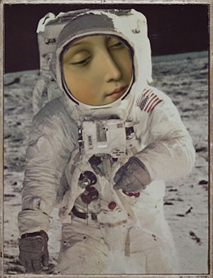 Aleksandra Mir, Astronaut, 2008. Paper collage on gold-leaf frame, 31 x 24 cm. Courtesy of the artist.