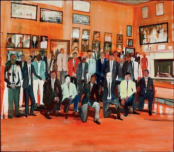 Jules de Balincourt, Boys' Club, 2011. Oil on plywood. MMFA, gift of W. Bruce C. Bailey in honour of Stéphane Aquin. Courtesy Galerie Thaddaeus Ropac, Paris/Salzburg. Photo: MMFA, Christine Guest.