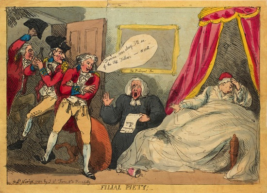 Thomas Rowlandson In late 1788, George III developed a serious illness and became increasingly confused. By December, he was clearly unable to rule. It appeared that the Prince of Wales would need to govern as Regent. Rowlandson contrasts the ailing King and his disrespectful son, who lurches drunk into the sickroom with his cronies. Royal Collection Trust / © Her Majesty Queen Elizabeth II 2013.