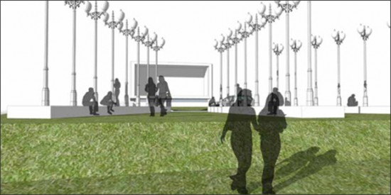 Chris Burden to create large-scale installation for Rose Art Museum.  Landscape renderings courtesy of Landworks Studio Inc.