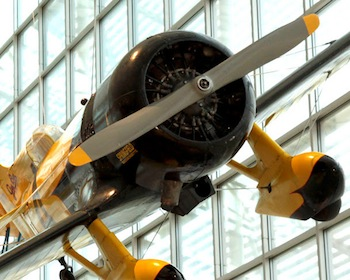 """The Museum of Flight's 1931 Gee Bee Z Super Sportster race plane reproduction was flown in the Disney movie, """"The Rocketeer."""" Ted Huetter/The Museum of Flight, Seattle."""
