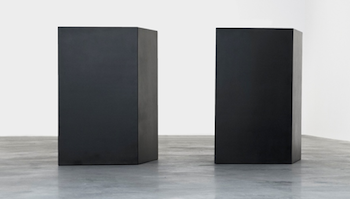 Tony Smith (1912–1980), For W.A., 1969. Edition 3/6; welded bronze, black patina; 2 parts, each: 60 in. (h) × 46 in. (w) × 33 in. (l). Anonymous gift in memory of Robert Shapazian. The Huntington Library, Art Collections, and Botanical Gardens. ©Tony Smith Estate / Artists Rights Society (ARS), New York.