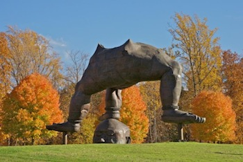 """Zhang Huan (b. 1965), Three Legged Buddha, 2007.  Steel and copper 28' 2 1/2"""" x 42' x 22' 7 5/8"""".  Gift of Zhang Huan and The Pace Gallery.  Storm King Art Center, Mountainville, NY.  Photograph by Jerry L. Thompson."""