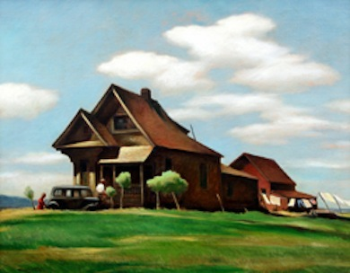 Emil Kosa Jr.  Near Modesto, 1940  Oil on canvas  22 x 28 inches  Mark & Janet Hilbert Collection