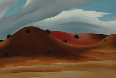 Georgia O'Keeffe (American, 1887-1986), Grey Hills Painted Red, New Mexico (1930). Oil on canvas. Anonymous Gift.