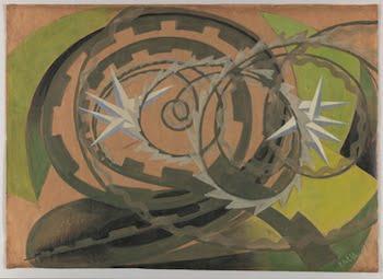 Giacomo Balla (1871-1957), Forme rumore di motocicletta, 1913-1914. Oil and gouache on paper,