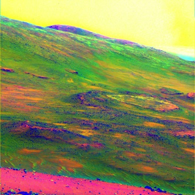 Mars Dust Devil and Weathered Rock Image: NASA/JPL-Caltech/Cornell University Spirit obtained this view of the area called Home Plate while parked atop Husband Hill. The colors emphasize differences in rock weathering. A large dust devil appears as the V-shaped discoloration of sky at the top right.