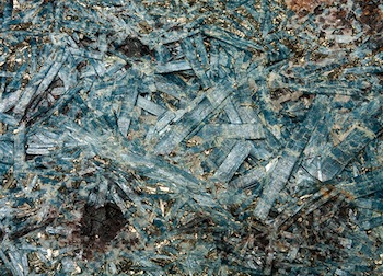 Kyanite with pyrite, fuchsite and turgite in schist (detail), Charlotte County, Virginia, 14 x 11 1/4 x 2 1/2 inches, Lora Robins Gallery of Design from Nature, University of Richmond Museums, Gift of Mr. B. W. Bass, R1977.01.1169 Photograph by Taylor Dabney