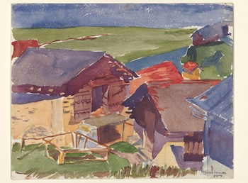 Alberto Giacometti, Stables in Capolago, 1915. Watercolour over pencil on paper, 22.8 x 28.9 cm. Kunsthaus Zürich, Bruno Giacometti bequest, 2012© Succession Alberto Giacometti / 2013