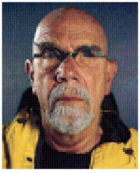 Chuck Close, Self-Portrait (Yellow Raincoat), 2013. Archival watercolour pigment print on Hahnemühle rag paper. Courtesy the artist and Pace Gallery. © Chuck Close in association with Magnolia Editions, Oakland, CA.
