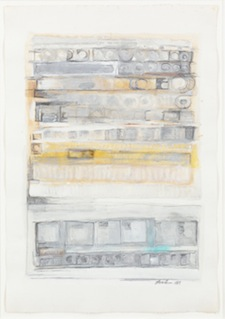 Eva Hesse, Untitled, 1968. Gouache, watercolor, silver paint and pencil on paper, 22 1/8 x 15 1/4 inches. Private collection. © The Eva Hesse Estate. Courtesy Hauser & Wirth.