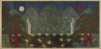 Artist/maker unknown, Joseon Dynasty (1392–1910), Sun, Moon, and Five Peaks, c. 19th century. Eight-fold screen, colors on paper, 82 11/16 × 217 7/16 inches. Private collection.