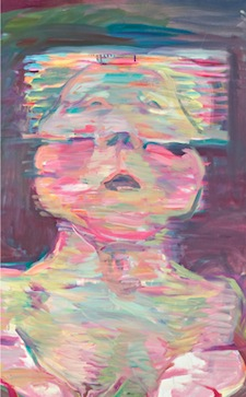 Maria Lassnig, Transparentes Selbstporträt (Transparent Self-Portrait), 1987. Oil on canvas, 49.25 x 39.5 inches. Courtesy the artist.