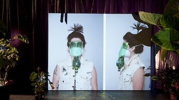 Pauline Boudry & Renate Lorenz, Toxic (still), 2012. Installation with Super16mm/HD film and archive. Performance: Ginger Brooks Takahashi, Werner Hirsch. Courtesy of Ellen de Bruijne, Amsterdam and Marcelle Alix, Paris.