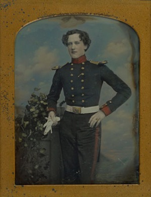 William Edward Kilburn, [Portrait of Lt. Robert Horsely Cockerell], 1852 - 1855. Daguerreotype, hand-colored. Image: 8.9 x 6.5 cm. The J. Paul Getty Museum, Los Angeles.