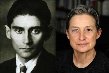 Left: Franz Kafka, before 1924. Photo: anonymous. Right: Judith Butler. Courtesy of University of California, Berkeley, Public Relations.