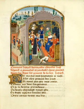 A page from the Mystère de la Vengeance, by Eustache Marcadé, recently acquired by the British Library.