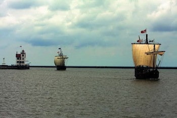 The Pinta (left) and Niña (right) will be docked in St. Michaels, MD at the Chesapeake Bay Maritime Museum from May 10 through the 18th, with on-board tours available.