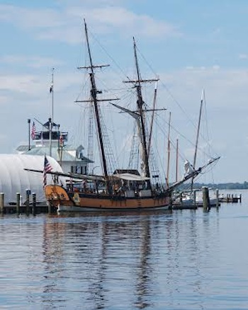 The replica schooner Sultana is scheduled to dock at the Chesapeake Bay Maritime Museum in St. Michaels, MD