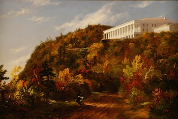 TThomas Cole (1801–1848), Catskill Mountain House, c. 1845–47. Oil on canvas, 22 ¼x 30 ¾ x 5 ¼ inches. Courtesy of The Warner Foundation and Warner Collection of