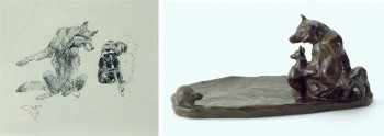 """Charles M. Russell (United States, 1864 – 1926), """"Old Man Coyote Listens."""" Ink on Paper. 5.50 x 6.25 inches (left) and """"Oh Mother, What Is It?"""", n.d.. Bronze. 4 x 8 1/2 x 4 3/4 inches (right). Both, JKM Collection®, National Museum of Wildlife Art."""