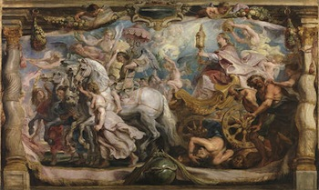 The Triumph of the Church, Rubens. Oil on canvas, 63,5 x 105 cm, Ca. 1625. Madrid, Museo Nacional del Prado