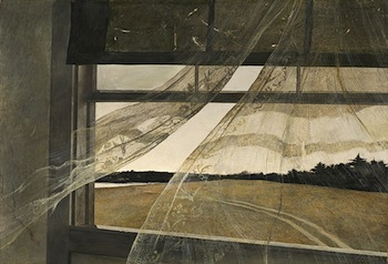 Andrew Wyeth, Wind from the Sea, 1947. Tempera on hardboard, overall: 47 x 70 cm (18 1/2 x 27 9/16 in.), framed: 66.4 x 89.5 x 7 cm (26 1/8 x 35 1/4 x 2 3/4 in.). National Gallery of Art, Washington, Gift of Charles H. Morgan© Andrew Wyeth.