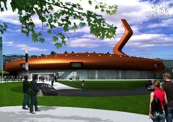 The new building (rendering). © Nio architecten, 2009.